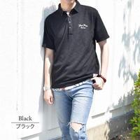 スラブ 鹿の子 チェーン刺繍入り ワーク ポロシャツ 0403245-41(ブラック)
