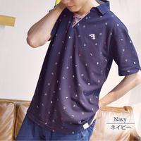 鹿の子 総柄プリント スキッパー ポロシャツ 0403240-38(ネイビー)