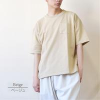 PANASPUR ポンチ素材 ポケット付き クルーネック ビッグシルエットTシャツ 0403506-12(ベージュ)