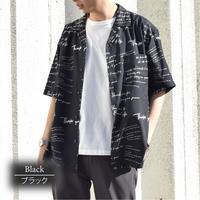 PE総柄プリント オープン  カラーシャツ (ストリート) 0343104-02(02ブラック)