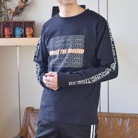 天竺素材 プリント入り 長袖Tシャツ 0402300-41B(41B.ブラックB)