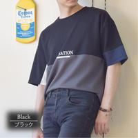 クレイジー切り替え PRINT入り クルーネック BIGTシャツ 0403301-41(ブラック)