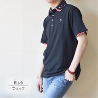 鹿の子 1ポイント刺繍入り 2枚襟 ポロシャツ 0403241-41(ブラック)