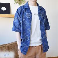 綿スラブ総柄プリントオープンカラーシャツ(和柄) 0343107-11(花火)