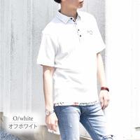 スラブ 鹿の子 チェーン刺繍入り ワーク ポロシャツ 0403245-20(オフホワイト)