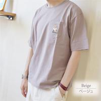 テディベア Teddy Bear 天竺 ポケット刺繍入り Tシャツ 0423702-12(ベージュ)