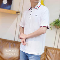 鹿の子 1ポイント刺繍入り 2枚襟 ポロシャツ 0403241-20(オフホワイト)