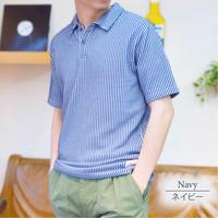 カットサッカー インディゴ風 ポロシャツ 0403256-28(ブルー)