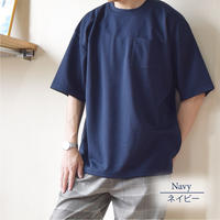 ボンディング天竺裏配色BIG-T 0703803-38(ネイビー×ブラウン)