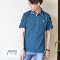 鹿の子 1ポイント刺繍入り 2枚襟 ポロシャツ 0403241-78(ターコイズ)