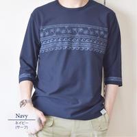 梨地パネルプリント7分袖Tシャツ 0401217-38A(ネイビー・サーフ)