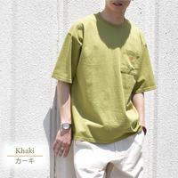 ワッペン付き USコットン クルーネック BIGシルエット Tシャツ 0403501-36(カーキ)