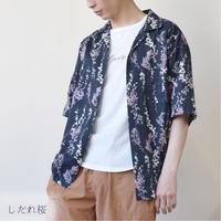 綿スラブ総柄プリントオープンカラーシャツ(和柄) 0343107-12(しだれ桜)