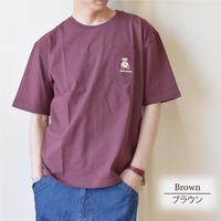 テディベア Teddy Bear 天竺 ポケット刺繍入り Tシャツ 0423702-32(ブラウン)
