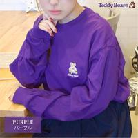 テディベア ワンポイント刺繍入り 長袖Tシャツ 0502708-39(パープル)