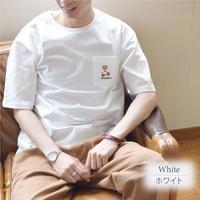 テディベア Teddy Bear 天竺 ポケット刺繍入り Tシャツ 0423702-10(ホワイト)