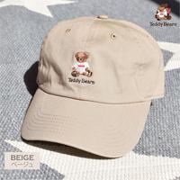 テディベア刺繍入り ローキャップ 0613002-12(ベージュー)