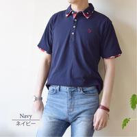 鹿の子 1ポイント刺繍入り 2枚襟 ポロシャツ 0403241-38(ネイビー)