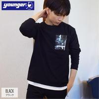 空紡糸 天竺 ビニール ポケット ロンT 9501707-41(ブラック)