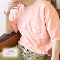製品染めビッグ 半袖Tシャツ 0703706-24(オレンジ)