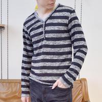 T/R PU ニットソー ボーダー ヘンリー 長袖Tシャツ 0402100-41(ブラック)