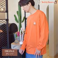 テディベア ワンポイント刺繍入り 長袖Tシャツ 0502708-14(オレンジ)