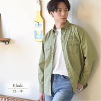 PANASPUR 綿ツイルバック刺繍ワークシャツ 0342801(36.カーキ)
