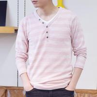 T/R PU ニットソー ボーダー ヘンリー 長袖Tシャツ 0402100-13(ライトピンク)