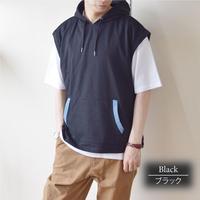 PANASPUR デニム切り替え パーカーベスト&半袖Tシャツ アンサンブル 0403511-41(ブラック)