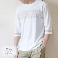 梨地パネルプリント7分袖Tシャツ 0401217-20B(オフホワイト・トライバル)