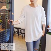 CREATION CUBE ロング丈 長袖 ワッフル Tシャツ 0402900-10(オフホワイト)