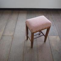 欅材の角スツール [ピンク]