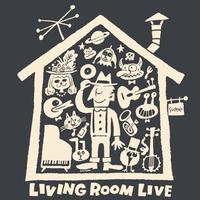 LIVING ROOM LIVE T-Shirts Black×Ivory  M