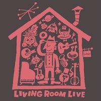 LIVING ROOM LIVE T-Shirts Charcoal×Radish S