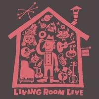 LIVING ROOM LIVE T-Shirts Charcoal×Radish  L