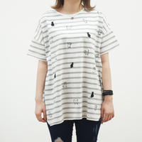ねこ柄刺繍イレヘムチュニックTシャツ(40229225)