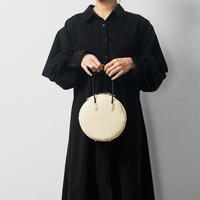 leather maru bag [white / black]