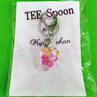 TEE Spoon レジンキーホルダー(音符桃黄)Kyo-chanコラボ