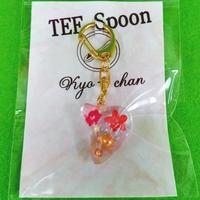 TEE Spoon レジンキーホルダー(花・赤)Kyo-chanコラボ