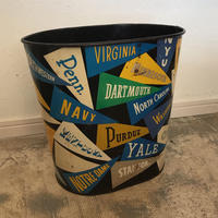 VINTAGE COLLEGE PENNANT TIN TRASH CAN