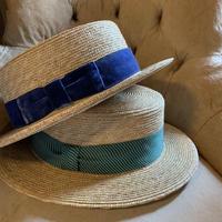 ストローカンカン帽ヴィンテージリボン