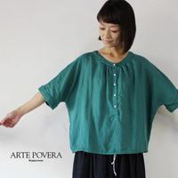 ARTE POVERA アルテポーヴェラ リネンルヨセルギャザークルーシャツ #ブラック、エメラルド【送料無料】
