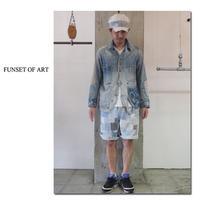 **momo別注** FUNSET OF ART ファンセットオブアート IDGスワッチパッチワークハリーショートパンツ #インディゴ 【送料無料】