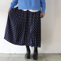 GRANDMA MAMA DAUGHTER ドットプリーツスカート #ネイビー、ベージュ