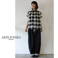ARTE POVERA アルテポーヴェラ リネンBIGチェックバルーンシャツ ♯白x黒、ネイビーx白 【送料無料】