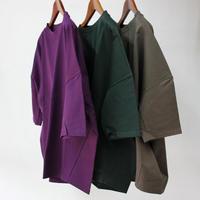LinenYa リネンヤ スペインコットン7分袖T #パープル、グリーン、カーキ