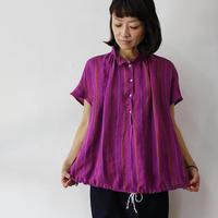 ARTE POVERA アルテポーヴェラ リネンストライプバルーンシャツ #パープルピンク、ネイビー