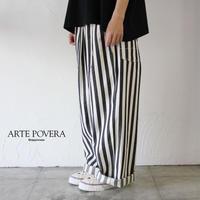 ARTE POVERA アルテポーヴェラ ストライプデニムワイドタック&ダーツパンツ ♯生成りx黒