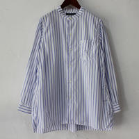 Tigre Brocante ティグルブロカンテ グログランストライプスタンドカラーオーバーシャツ #ブルーストライプ 【送料無料】