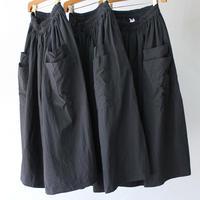 homspun コンパクトウェザーWポケットギャザースカート #ブラック 【送料無料】